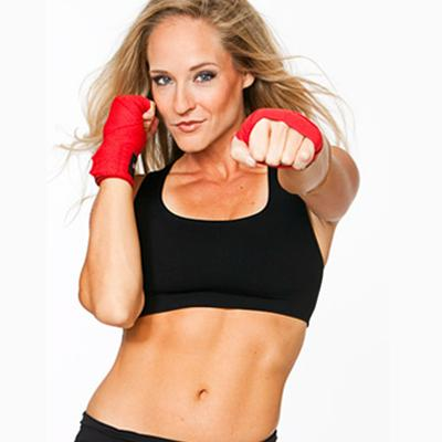Boxing Girl with slim belly in black
